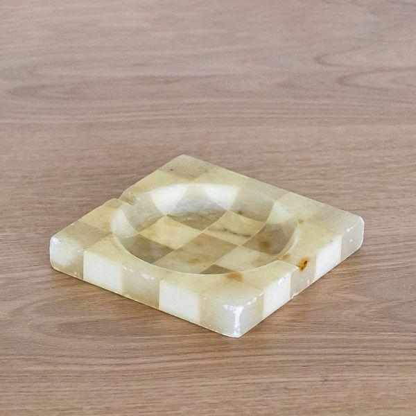 Italian Alabaster Checkered Ashtray - ON HOLD